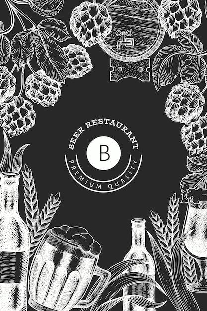 Caneca de vidro de cerveja e hop design. mão-extraídas ilustração de bebidas pub no quadro de giz. estilo gravado. ilustração de cervejaria retrô. Vetor Premium