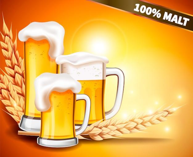 Caneca realista de vetor com cerveja espumosa Vetor Premium