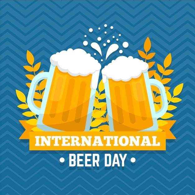 Canecas cheias de cerveja evento do dia internacional da cerveja Vetor grátis