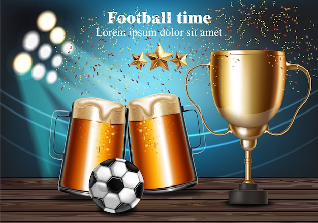 Canecas de cerveja e taça de futebol no estádio Vetor Premium