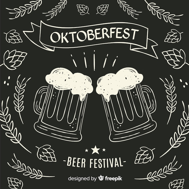 Canecas de cerveja oktoberfest do quadro-negro Vetor grátis