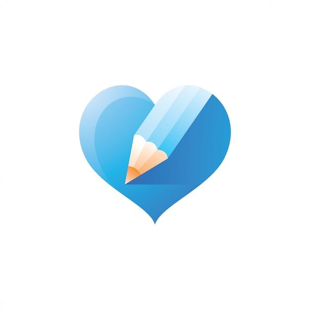 Caneta de lápis e amor coração logotipo Vetor Premium