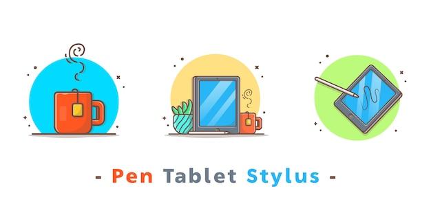 Caneta desenho tablet stylus icons Vetor Premium