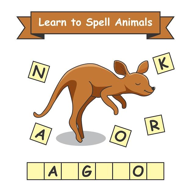 Canguru aprenda a soletrar animais Vetor Premium