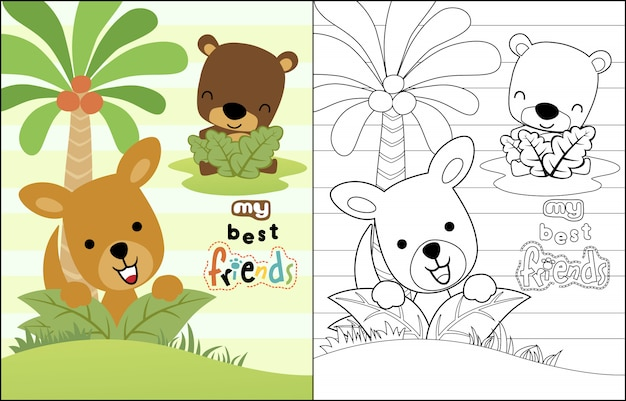 Canguru com ursinho dos desenhos animados Vetor Premium