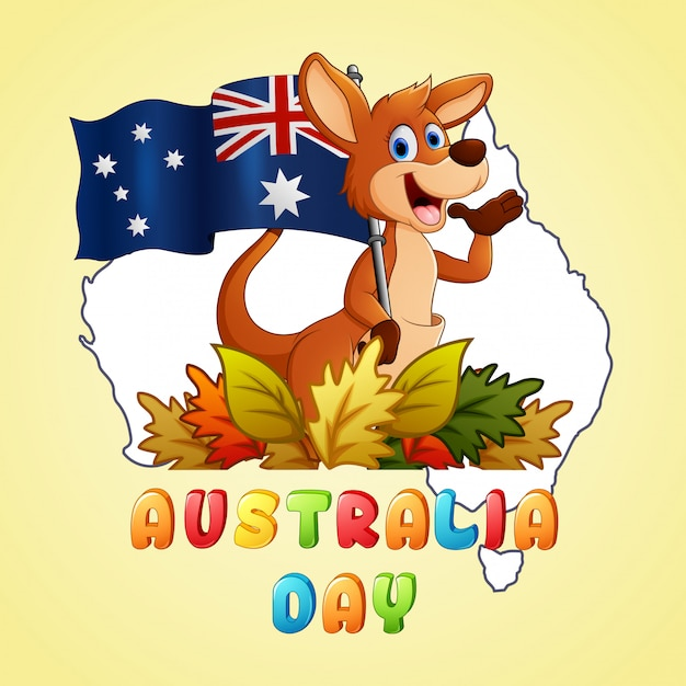 Canguru de dia feliz austrália segurando uma bandeira no fundo do mapa Vetor Premium
