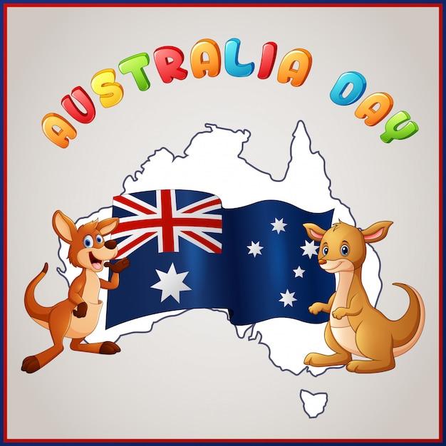 Cangurus e bandeira australiana para o emblema do dia da austrália Vetor Premium