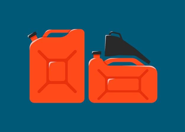 Canister, funil, ícone de combustível. vasilha de metal de desenhos animados de gasolina Vetor Premium