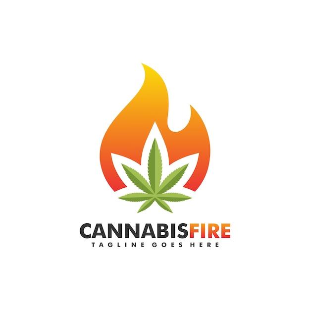 Cannabis fire concept ilustração Vetor Premium