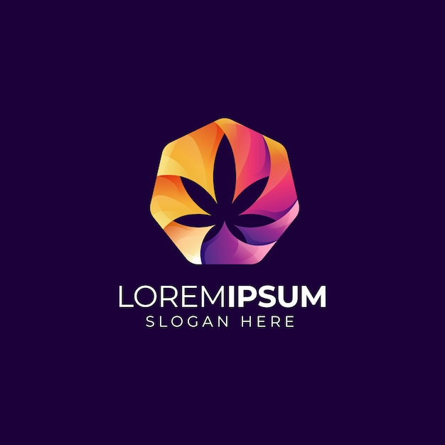 Cannabis logo Vetor Premium