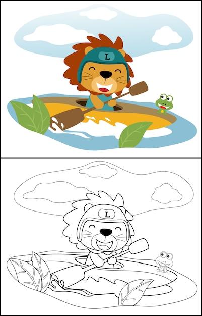 Canoa bonito dos desenhos animados do leão Vetor Premium