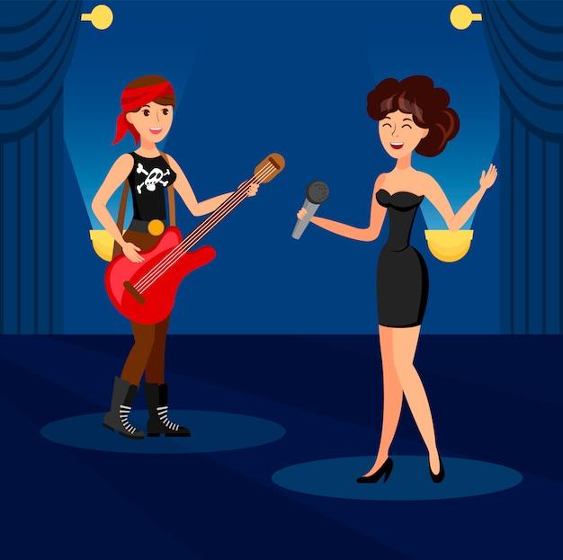 Cantando em dueto na ilustração em vetor de clube de noite Vetor Premium