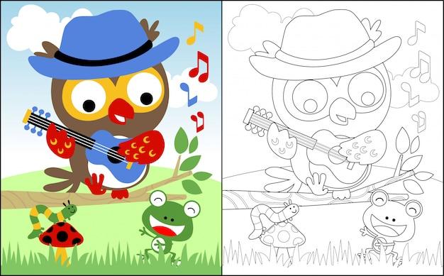 Cantando junto com desenhos animados de coruja e amigos Vetor Premium