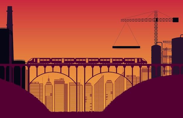 Canteiro de obras de silhueta e trem com ponte em gradiente laranja Vetor Premium