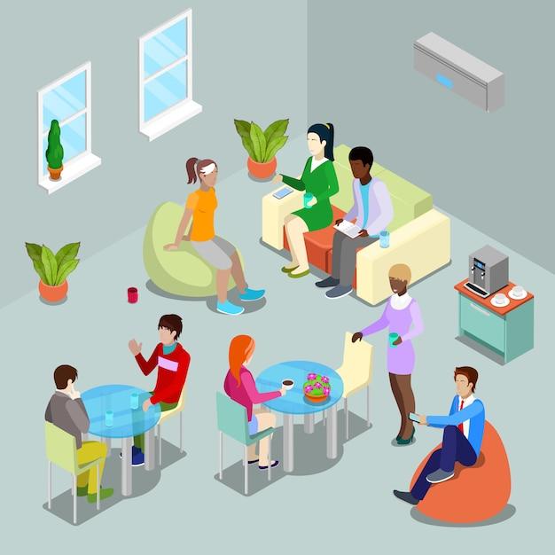 Cantina de escritório interior isométrica e área de relaxamento com as pessoas. Vetor Premium