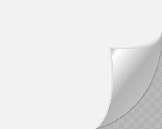 Canto enrolado de papel em fundo transparente com sombras suaves. Vetor Premium