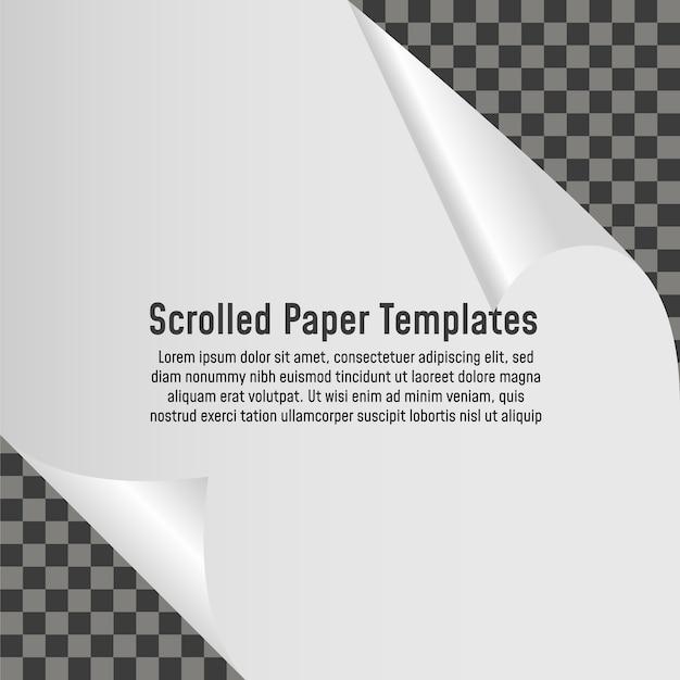 Canto ondulado da página em branco de papel com sombra. ilustração vetorial modelo Vetor Premium