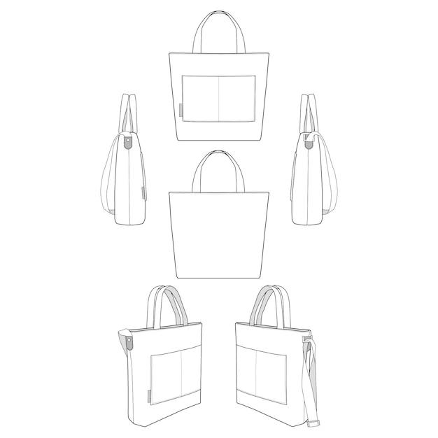 Canvas tote bag moda modelos planos Vetor Premium