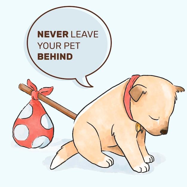 Cão abandonado design de mão desenhada Vetor grátis