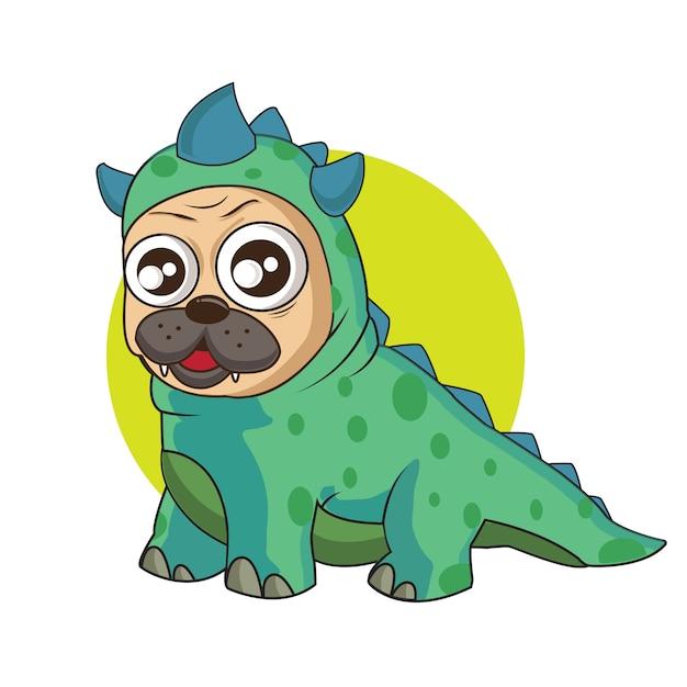 Cão bonito com um traje godzilla Vetor Premium