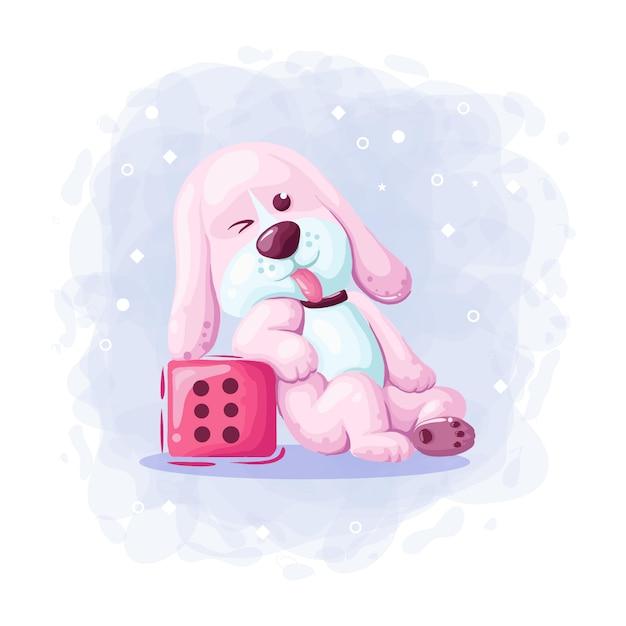 Cão bonito dos desenhos animados com dados ilustração vetorial Vetor Premium