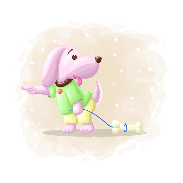 Cão bonito dos desenhos animados com vetor de ilustração de osso Vetor Premium