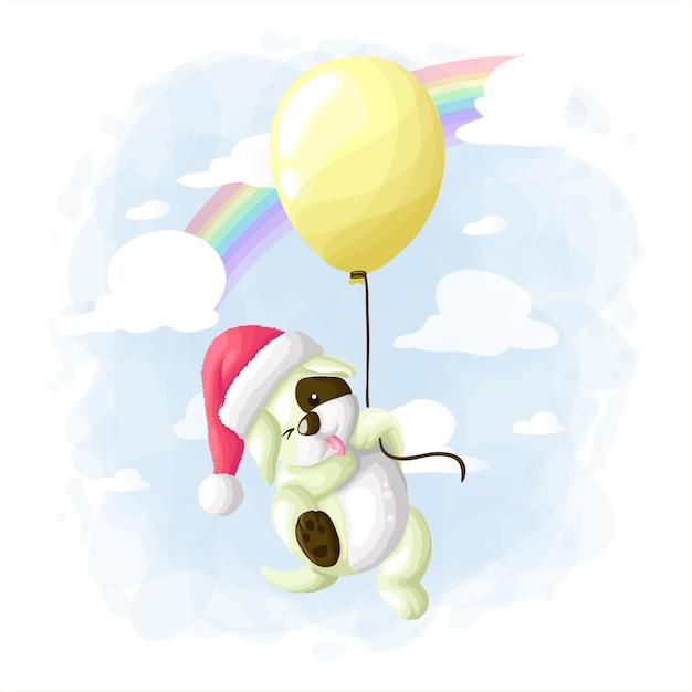 Cão bonito dos desenhos animados, voando com balão ilustração vetorial Vetor Premium