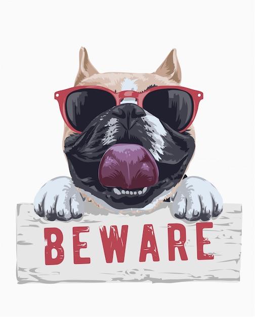 Cão bonito em óculos de sol segurando beware sinal Vetor Premium