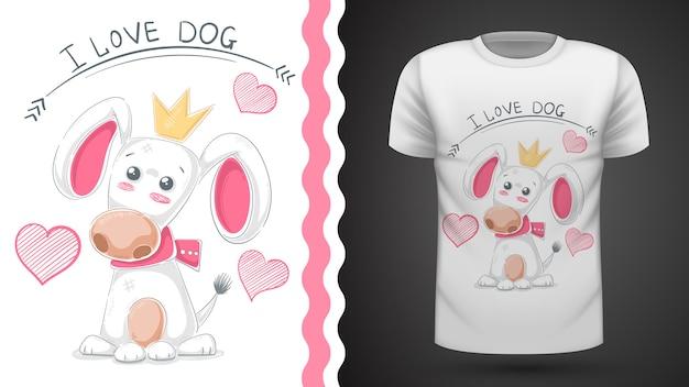Cão bonito, filhote de cachorro - impressão de idéia t-shirt Vetor Premium