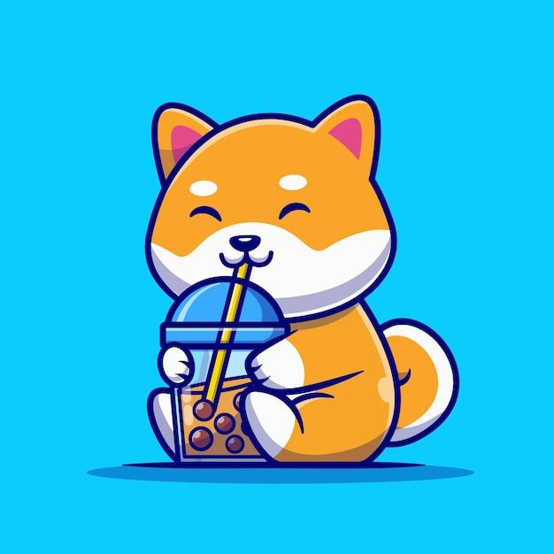 Cão bonito shiba inu beber leite chá boba desenho animado Vetor grátis