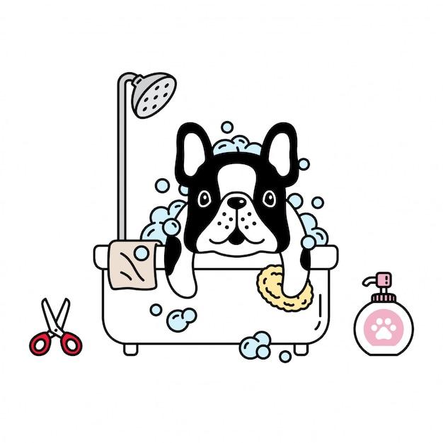 Cão buldogue francês chuveiro banheiro desenhos animados Vetor Premium