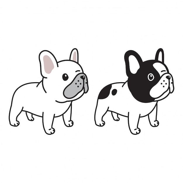 Cão bulldog francês personagem dos desenhos animados doodle Vetor Premium