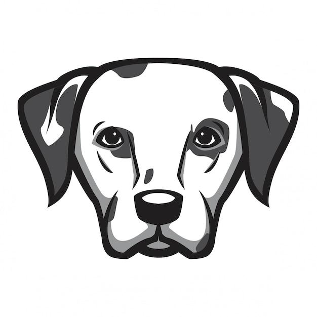 Cão cabeça dálmata Vetor Premium