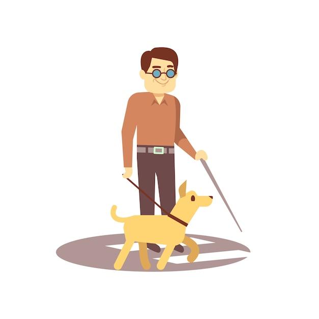 Cão companheiro e cego na caminhada isolado no fundo branco - pessoa cega e cão-guia Vetor Premium
