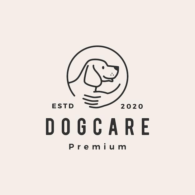 Cão cuidados hipster logotipo vintage icon ilustração Vetor Premium