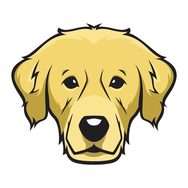 Cão de cabeça de golden retriever Vetor Premium