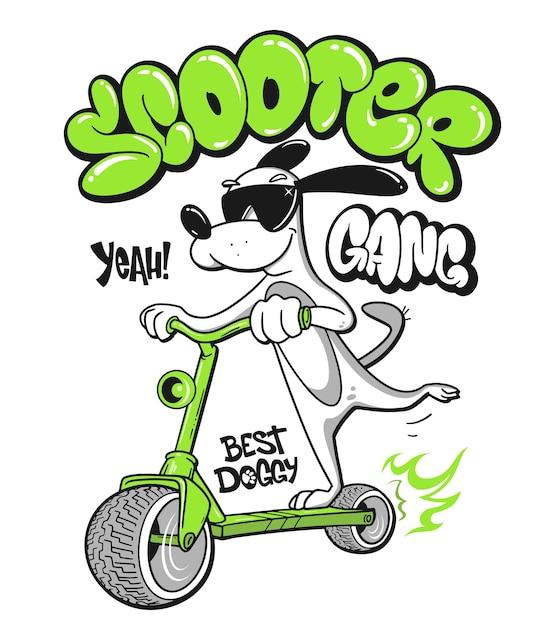 Cão de desenho animado andando de scooter com desenho de camisa Vetor Premium