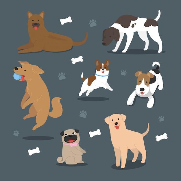 Cão de desenho vetorial gera coleção Vetor Premium