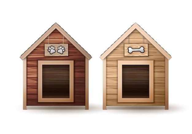 Cão de madeira de vetor abriga diferentes cores, isoladas no fundo branco. Vetor grátis