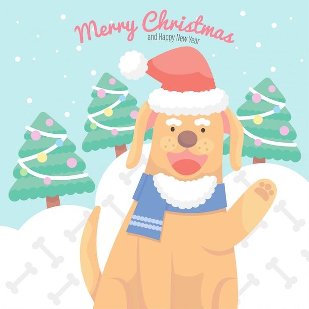 Cão de natal bonito dos desenhos animados Vetor Premium