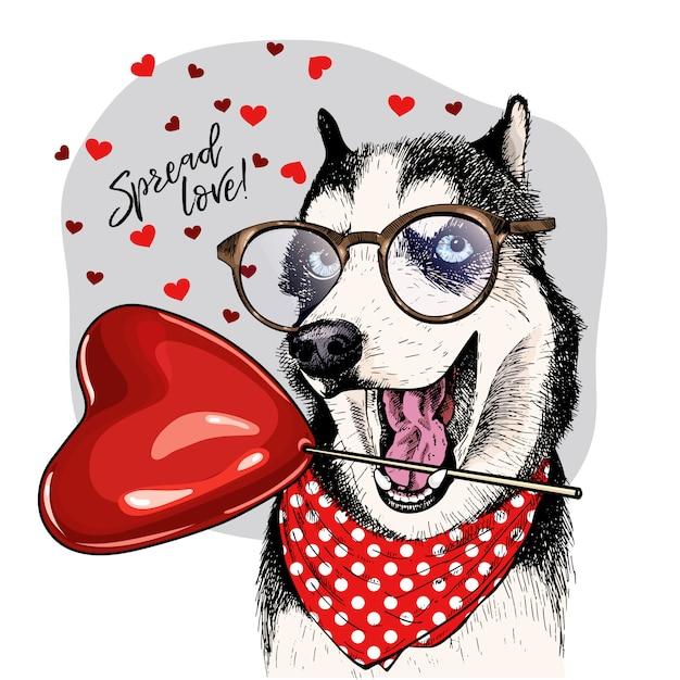 Cão de vetor. cartão de dia dos namorados. Vetor Premium