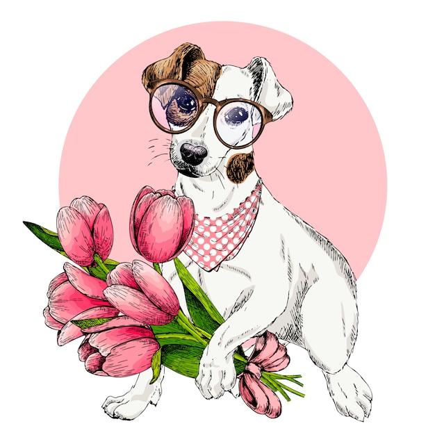 Cão de vetor. cartão de páscoa. Vetor Premium