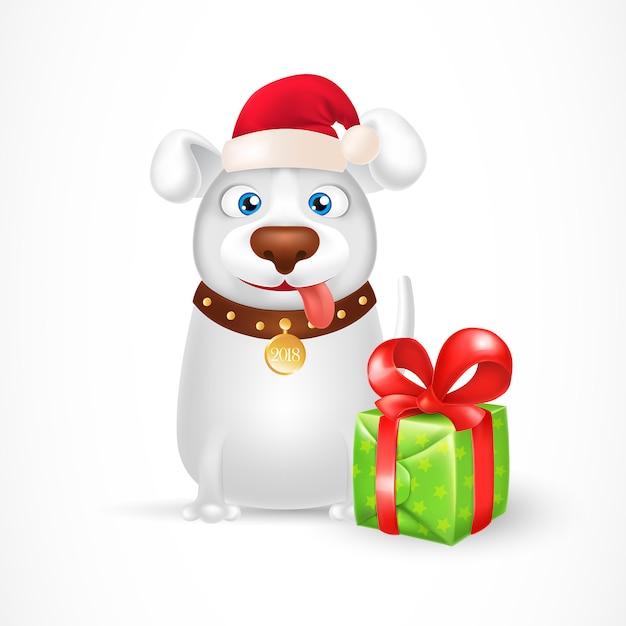 Cao Dos Desenhos Animados No Chapeu Do Papai Noel Com Caixa De