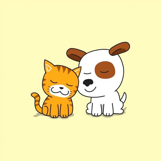 Cão e gato bonito de personagem de desenho animado Vetor Premium