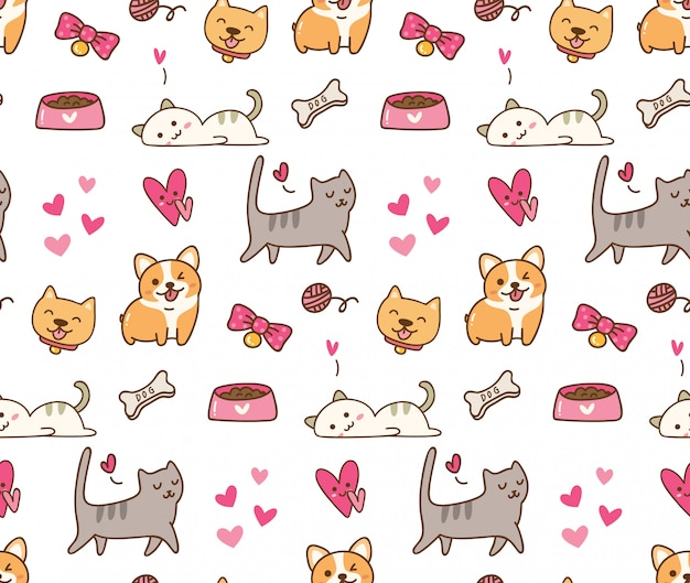 Cão e gato kawaii fundo Vetor Premium
