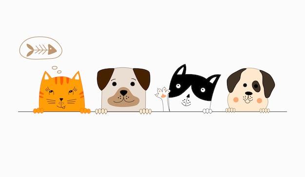 Cão e gato melhores amigos. Vetor Premium