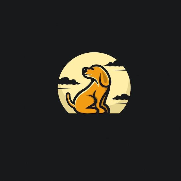 Cão e lua ilustration design Vetor Premium