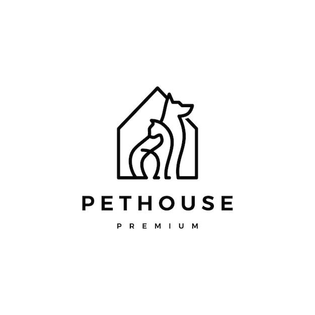 Cão gato pet casa casa logo vector linha arte contorno Vetor Premium