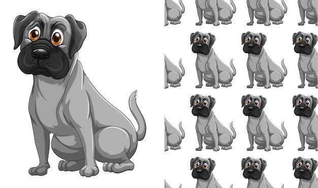 Cão isolado animal padrão dos desenhos animados Vetor grátis
