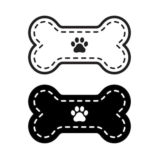 Cão osso icon pata pegada ilustração Vetor Premium